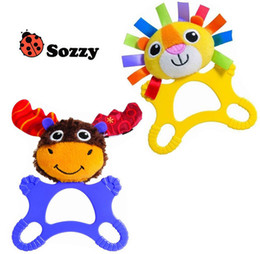 Wholesale Tooth Doll - Wholesale- 15x20cm SOZZY Infant big Rattle Plush Baby Toys stufed Doll Rattles teeth training toys Animal stytle bed Handing molar toys