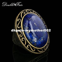 Wholesale Lapis Stone Ring - Semi-precious Stone Lapis Lazuli Ring Antique Gold Silver Color Fashion Brand Vintage Jewelry Rings For Women Wholesale DFR390M