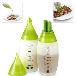 Wholesale Plastic Sauce Bottles - Barbecue Silica Gel Bottle Kit BBQ Suits Home High Temperature Silicone Oil-Brush Bottle Suit Basting Brushes Salad Barbecue Sauce Bottle