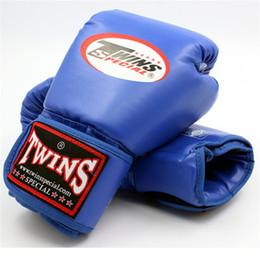 Wholesale Leather Boxing Training Gloves - 12 14Oz Twins Gloves Kick Boxing Gloves Leather PU Sanda Sandbag Training Black Boxing Gloves Men Women Guantes Muay Thai