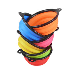Wholesale Cat Feeding - luxury pet silica gel bowl dog folding portable feeders bowls for dogs six colors available portable pet dog cat puppy feeding bowl