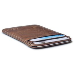 Wholesale Lighted Business Cards - Men Genuine Leather Retro Small Card Holders Black Brown Money Card Holders 20G Light Mini Wallets A337