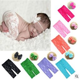 Wholesale Girl Holiday Outfits - Lace Trousers Newborn Photography Props Baby Lace Headbands and Pants Set 0-6 months Infant Costume Outfit With Headband DHL Free Shipping