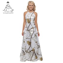 Wholesale new style prom gown - realtree snow white camo formal evening gown dresses 2017 new styles custom make camo evening prom dresses