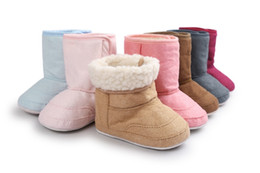Wholesale fur boots newborn - Wholesale- New Brand ROMIRUS Fashion Winter Super Keep Warm Newborn Baby First Walkers Boots Babe Children Soft Rubber Soled Anti-Slip shoe