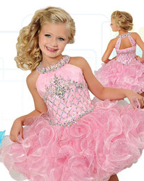 Wholesale Cupcakes Christmas - Fashionable Glitz Cupcake Girls Pageant Dresses Pearl Pink Flower Girls Dress Wedding Birthday Party Gowns Mini Custom Made 2016