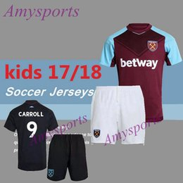 Wholesale 2017 kids West Ham United soccer jersey youth kits set LANZINI CARROLL PAYET NOBLE home away football shirt