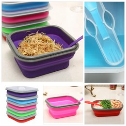 Wholesale Silicone Collapsible Portable Healthy Lunch Bowl Boxes Folding Food Storage Container Lunchbox Eco Friendly Color Random YYA111