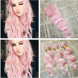 Wholesale Rose Hair Extensions - New Arrival Pink Human Hair Bundles With Lace Closure Brazilian Body Wave Hair Extension With 4*4 Lace Top Closure Rose Pink Hair Bundles