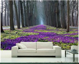 Wholesale Household Pictures - 3d room wallpaper custom photo mural spring trees and flowers of the park picture decor painting 3d wall murals wallpaper for walls 3 d