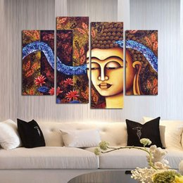 Wholesale Wall Art Sets Cheap - Religious buddha modern oil painting picture 4 sets wall art canvas printings without frame cheap fashion gift home decoration