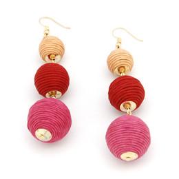 Wholesale Thread Chandelier Earring - Newest Design Thread Ball Dangle Earrings Bohemian Style Thread Dangle Long Earrings for Women Simple Handmade Beaded Ball DIY Drop Earrings