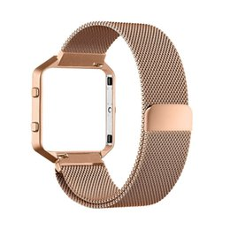Wholesale Wholesale Metal Magnetic Frame - Wholesale-Small Size Black Watchbands Milanese Magnetic Stainless Steel Watch Band+Metal Frame For Fitbit Blaze Straps 2016 New Arrival