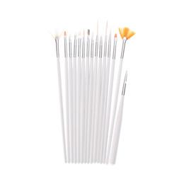 Wholesale Professional Nail Brush Set - 15 pcs Professional Nail Art Decorations Brush Set Tools Painting Pen Nail Brushes for UV Nail Gel Polish draw tool Pearl White