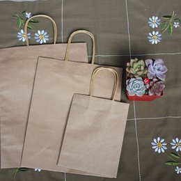 Wholesale Wholesale Paper Coffee - 50 pieces Fashionable Kraft Paper Gift Bag with Handle Shopping bags Take-away coffee Bread Bag Brown Packing Bag