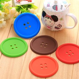 Wholesale Button Design Cup - 5 colors cute Colourful Button Coasters Design Cartoon Cup Mat Originality Button Placemat Beverage Coasters Mats IA576