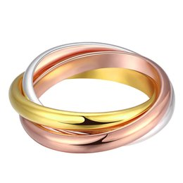 Wholesale Three Colours Rings - Free shipping Wholesale 925 Sterling Silver Plated Fashion three-colour three-circle Jewelry LKNSPCR058