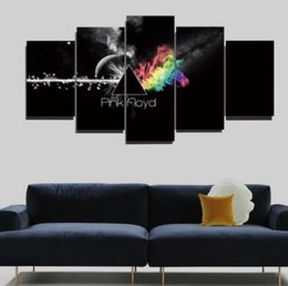Wholesale music art decor - The 5 panel printing pink Floyd wall rock music art oil painting the sitting room home decor canvas print posters Frameless draw
