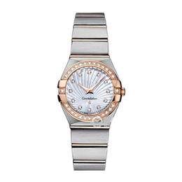 Wholesale Nude Women - Luxury Women Dress Watches 28mm Elegant Stainless Steel Rose Gold Watches High Quality Lady Rhinestone Quartz Wristwatches