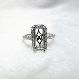 Wholesale Emerald Cut Diamond White Gold - Emerald Cut 5x11mm Solid 14Kt White Gold Natural Diamond Semi Mount Ring