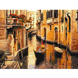 Wholesale Wholesalers Venice - Venice Sunshine Oil Acrylic Paint DIY Digital Canvas Wall Art Painting By Number Unframed Coloring Acrylic Paints