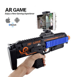 Wholesale wood toy guns - 2017 Newest VR AR Game Gun Cell Phone Stand Holder Portable Wood AR Toy Game Gun with 3D AR Games for iPhone Android Smart Phone