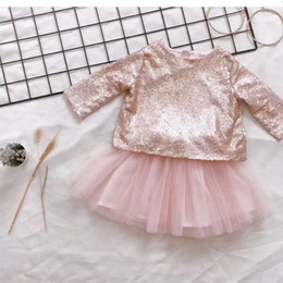 Wholesale Set Babys - ins Baby Girls Outfits and Sets Babys, Kids Clothes 2017 New Autumn Winter Long Sleeve Sequins Shirts T-shirt Skirts 2Sets YAN-309