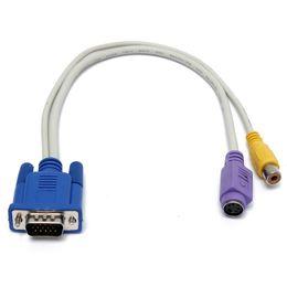 2019 видеокабель vga svga VGA мужской SVGA для S-Video RCA Jack Video Composit конвертер разъем адаптера кабель для ТВ ПК ноутбук дешево видеокабель vga svga
