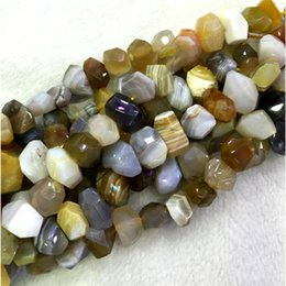 """Wholesale Onyx Faceted Bead - Natural Genuine Gray Yellow Botswana Agate Fortification Onyx Hand Cut Faceted Nugget Free Form Loose Beads 15"""" 04331"""