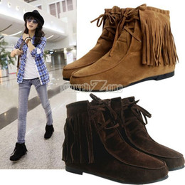 Wholesale Wholesale Womens Shoes Boots - Wholesale-2016 New Spring Autumn Ankle Boots For Women Suede Leather Tassel Ladies Boots Womens Flat Boots Shoes Botas Free Shipping O040