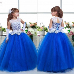 Wholesale Girl Amazing Gown - Amazing 2017 Latest Pageant Dresses for Teens Jewel Neck White Lace Covered Bodice Royal Blue Organza Ball Gown Skirt Girl Formal Dresses