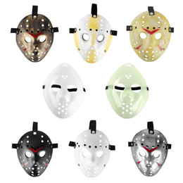 Wholesale Jason Face - Full Face mask cosplay masks mini masquerade masks black for mens Freddy VS 13th Prop Horror Hockey Jason Mask anonymous adult plastic mask