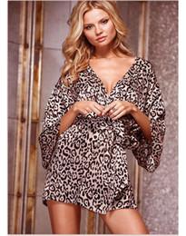 Wholesale kimono cheap - Wholesale- Wholesale Women Clothing Sexy Lingeries Hot Sale Cheap Price Sleepwear Lounge Sets Soft Kimono Leopard Print Robe SL3035