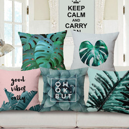 Wholesale blue couches - tropical plantas cushion cover green foliage throw pillow case for sofa couch cactus almofada palm leaves cojines home decor