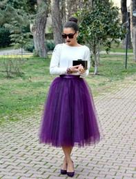 billig mitte kalb kleider Rabatt Lila Mid Calf Tüll Röcke Nach Maß Ballkleid Frauen Röcke Viele Schichten Party Kleider Günstige Röcke Mädchen Formale Party Kleider