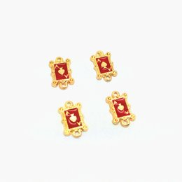 Wholesale Poker Jewelry Charms - Free Shipping 10pcs lot 12*8mm Gold Tone Enamel Mini Poker Card Heart A Charm Zinc Alloy Pendant For DIY Jewelry Accessories
