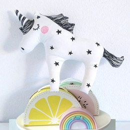 Wholesale Baby Cushion Beds - 41x30CM INS Baby Unicorn Stuffed Toys Cute Licorne Pillow Animal Shaped Doll Cushion Decorative Bedding Pillow for Kids Room Christmas Gifts