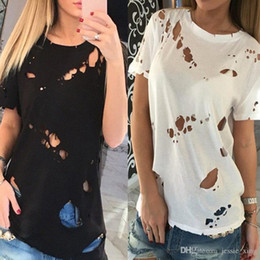 Wholesale Sexy Black Shirt Holes - 2017 Newest Fashion Ripped Holes T-shirt Summer Black White Tops Sexy Women Short Sleeve Hollow Out Blouse Casual Tee Shirts Blusas