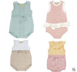 Wholesale Baby Knitting Vests - Baby Romper spring INS toddler kids knitting vest romper new toddler kids hollow out falbala jumpsuit babies clothes babies climb suit T1598