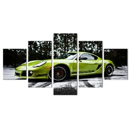 Wholesale Poster Panel - 5 piece canvas art HD Green Sports Car Printed Painting On Canvans Room Decoration for home Print Poster Canvas Wall