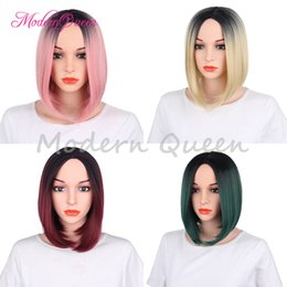 Wholesale Style Roots - Cheap Synthetic Hair Wigs For Black Women Short Bob Wig Ombre Color 12inch Heat Resistant Synthetic Hair wigs Dark Roots Popular Style