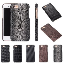 Wholesale Thin Leather Bumper - For Iphone 7 7Plus Ultra Thin Wood PU Leather Mobile Cellphone Case Carbon Fiber Bumper Cover For Iphone 6S 6 Plus 5S Samsung S7 Edge S7