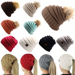 Wholesale Wholesale Top Hats - Winter Knitted Wool Cap with Ball Top for Mom and Girls Winter Unisex Casual Hats Caps Solid Color Hip-Hop Skullies Warm Hat