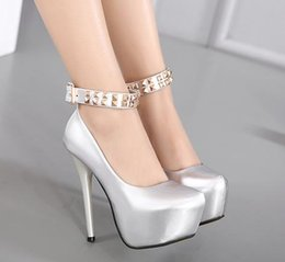 Wholesale Punky Shoes - 2017 punky rivets patent PU leather silver black ankle strap platform high heels pumps women wedding shoes size 34 to 39
