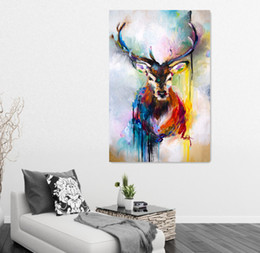 Wholesale Canvas Oil Paintings Drawn - Nordic Christmas Decorations Colored Drawing Deer Oil Painting Printed On Canvas Wall Art Posters Canvas Painting For Living Room Frameless