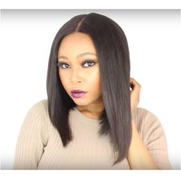 Wholesale indian women beauty - Short Bob Wigs Human Hair Lace Front Wigs 14inch For Black Women Brazilian beauty Pre Plucked Natural color Hairline Silky Straight