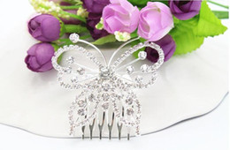Wholesale Bride Hairpiece - Clear Rhinestone Butterfly Hair Comb Crystal Tiaras Fashion Wedding Hair Accessories Bridal Hair Jewelry Crystal Crown Bride Hairpieces