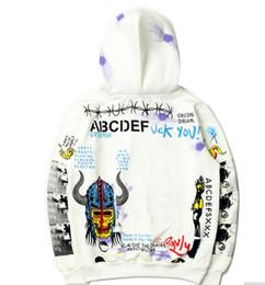 Wholesale Rocky Hoodie - vetement HIP HOP A$AP Rocky Graffiti Letter Printed Fleece Hoodies Sweatshirts Kanye West Fashion Skeleton Casual Pullover Hoodie Streetwear