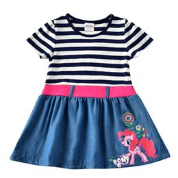 Wholesale Pony Skirt - Spring autumn's new pony - polly cartoon dress sea soul blue horizontal stripes cotton long-sleeve children skirt trade girl's cartoon dress