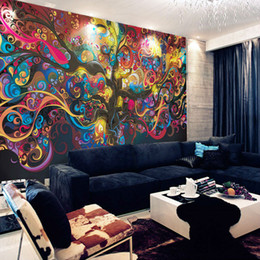 Wholesale Natural Entertainment - Tree of life Photo wallpaper Psychedelic Wallpaper Custom 3D Wall Mural Art Bedroom Bedroom Bar Shop Room decor Natural scenery